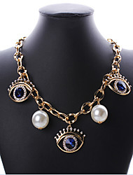 MPL Europe and the United States are big eyes with long eyelashes all-match clavicular drill pearl chain