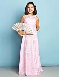 Lanting Bride® Floor-length Lace Junior Bridesmaid Dress - Mini Me Sheath / Column Jewel with Lace