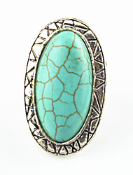 Vintage Antique Silver Oval Turquoise Stone Adjustable Free Size Ring(1PC)