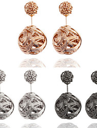 Women's Simply Fashion Round Bead Crown Stud Earrings