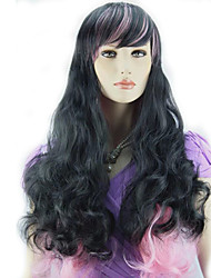 Fashionable Black Mix Wig Long Wavy Curly Hair Women Cosplay Full Wigs