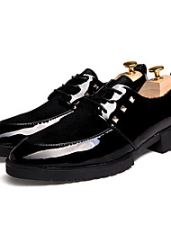 Men's Shoes Trend Fashion Casual Business Leather Shoes Black/Black and gold