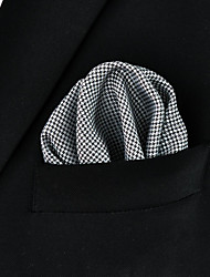 Men's Abstract White 100% Silk Casual Dress Pocket Square