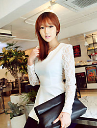 Women's Solid / Lace White / Black Blouse , V Neck Long Sleeve
