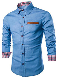 Men's Solid Casual Shirt,Cotton / Denim Long Sleeve Blue