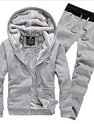 Men's Long Sleeve Hoodie Set , Cotton Pure Plus Sizes