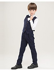 Black / Dark Navy / Red Polyester Ring Bearer Suit - 4 Pieces