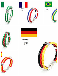 Men Bracelet European Style National Flag Leather Bracelet