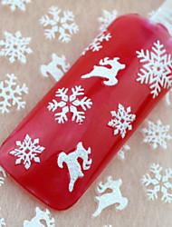 12pcs Christmas White Snowflake Snowman Series Nail Sticker
