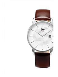 AIBI® Модные мужские часы с календарем, водонепроницаемые, с кожаным ремешком (серебристый, коричневый)