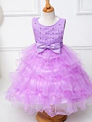 Girl's Vogue  Cotton Blend Summer Nail Fixed  Petal Bead Wedding Wress Princess Dress