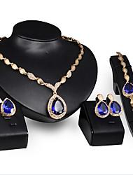 Collar / Pendiente / Brazalete / Anillo (Baño en Oro / Piedra Preciosa y Cristal / Zirconia Cúbica)- Vintage / Fiesta / Trabajo para