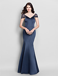 Mermaid / Trumpet V-neck Floor Length Satin Bridesmaid Dress with Pleats by LAN TING BRIDE®