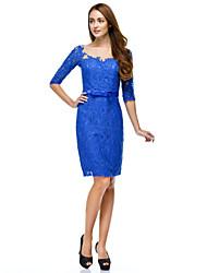 TS couture® коктейль / компания платье партии оболочки / колонки совок длиной до колен кружева с кнопками / кружева