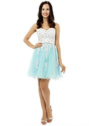 Cocktail Party Dress - Multi-color A-line Sweetheart Short/Mini Satin / Tulle