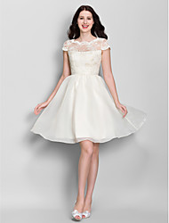 Lanting Bride® Knee-length Lace / Organza Bridesmaid Dress A-line Scoop with Lace