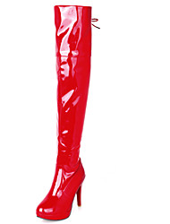 Women's Shoes Stiletto Heel Round Toe / Closed Toe Boots Office & Career / Dress / Casual Red / White