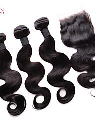 smilco vierge vague de corps de cheveux brésiliens avec fermeture 3 faisceaux avec fermeture 4 * 4 de soie partie libre armure de cheveux