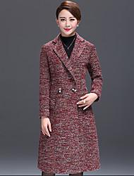 Women's Color Block Red Coat  Vintage  Casual Long Sleeve Fleece