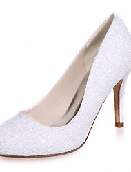 Women's Spring / Summer / Fall Round Toe Glitter Wedding / Party & Evening Stiletto Heel Black / Ivory / White