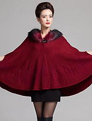 Women's Party/Cocktail Plus Size / Vintage Long Cloak / Capes,Jacquard Blue / Red / Black / Yellow / Purple
