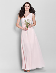 Ankle-length Chiffon Bridesmaid Dress Sheath / Column One Shoulder with Beading