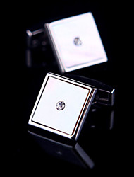 Fashion Copper Men Jewelry Silver Square Crystal CZ Rhinestone Delicate Button Cufflinks(1Pair)