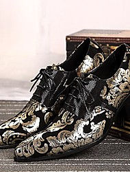 Men's Shoes Amir Limited Edition Oriental Temperament Nightclub/Party Top Layer Leather Oxfords Silver/Gold