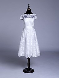 A-line Wedding Dress - White / Ivory Knee-length Jewel Lace