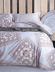 Abstract Pattern Light Grey Cotton Bedding Set 4-Piece