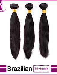 "3pcs/lot 12""-30"" Brazilian Virgin Hair Natural Black Silky Straight Human Hair 100% Human Hair Weave Brands"