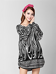 Women's Print Black / Yellow Dress , Casual Round Neck Long Sleeve
