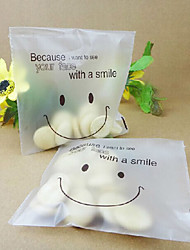 50pcs Smiley Face Cello Self Adhesive Matte Thin Plastic Candy Cookie DIY Bags