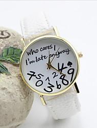 Женские Модные часы Кварцевый Кожа Группа Часы с текстом Черный Белый