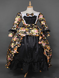 Steampunk®Hot Sale Black Brocade Printing Lolita Long Prom Dress Marie Antoinette Inspired Dress Wholesalelolita Evening Dress