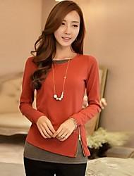 Women's Patchwork  Color Block Round Neck Long Sleeve  T-shirt