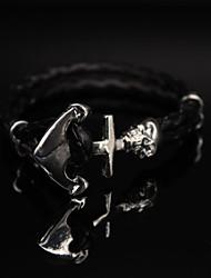 Men Bracelet European Style Anchor Leather Bracelet