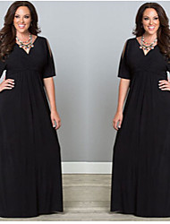 Women's Solid Color Black Dresses , Vintage / Sexy / Lace / Party V-Neck ¾ Sleeve