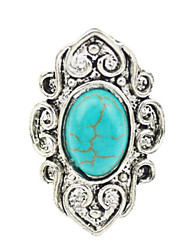 Vintage Look Antique Silver Oval Natural Turquoise Stone Adjustable Free Size Ring(1PC)