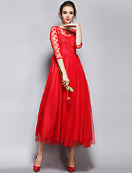 Women's Embroidery Party Vintage A Line Dress Round Neck Maxi Long Sleeve Red/White Polyester All Seasons