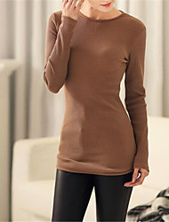 Women's Solid White / Black / Brown T-shirt , Round Neck Long Sleeve