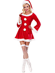 Sweet Polyester Sexy Women's Christmas Costume(Dress+Hat)