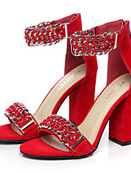 Women's Shoes Velvet Summer Heels / Round Toe Dress / Casual / Party & Evening Chunky Heel Chain Black / Red