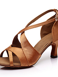 Fashion Women's Girl's Dance Shoes Latin / Salsa / Samba Satin High Heel Brown