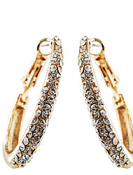 European Style Fashion Drill  Oval Circle Earrings