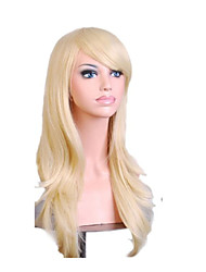 Capless Mix Color Long Length High Quality Natural  Curly Hair Synthetic Wig with Side Bang