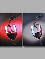 Ready to Hand Stretched Hand-Painted Oil Painting Canvas Modern Dinning Room Still Life Home Deco Two Panels