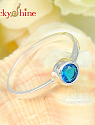 Luckyshine Amazing 925 Silver Classic Round Fire Blue Topaz Crystal Gemstone Rings For Christmas Holiday Gifts