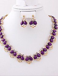 May Polly  Korea fashion Heart Necklace Earrings set resin banquet