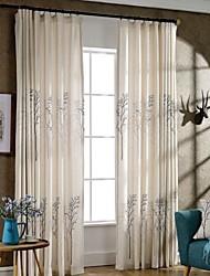 Dos Paneles Campestre / Moderna / Neoclasicismo Flores / Botánica Beige Dormitorio Mezcla de Poliéster y Algodón Panel Cortinas cortinas